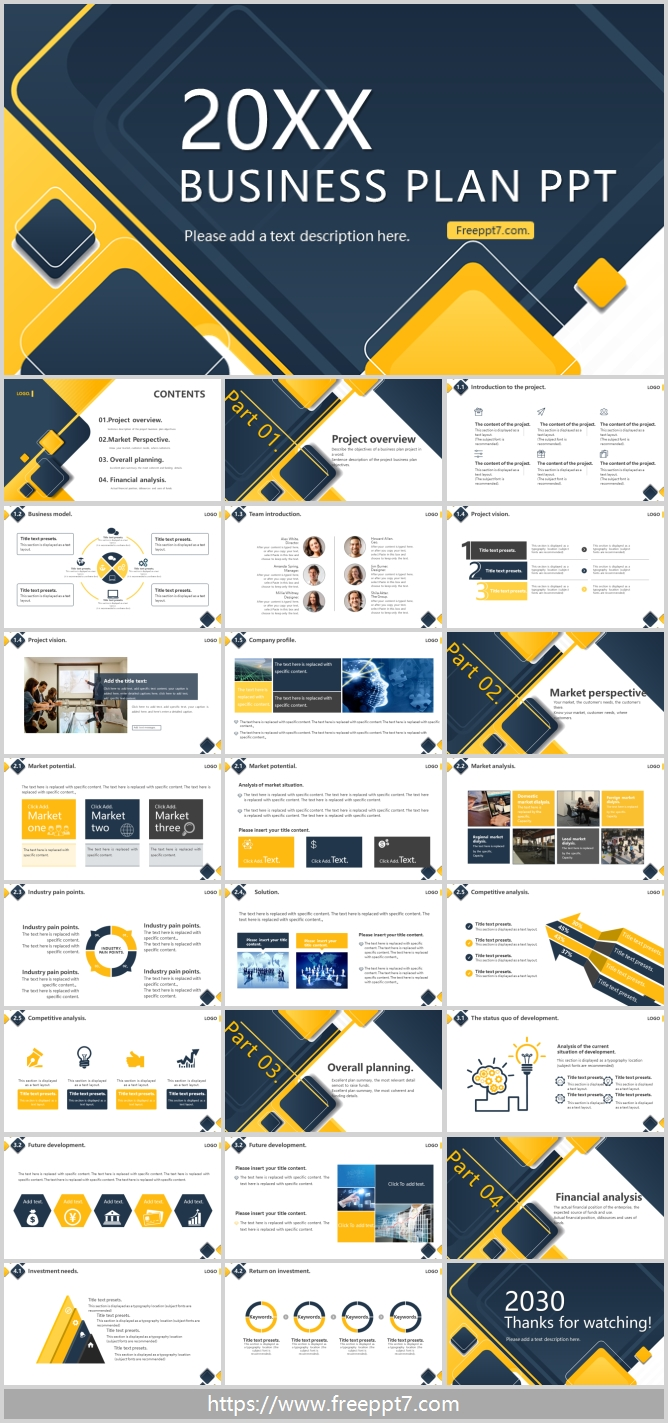 Yellow Blue  Business PPT Templates