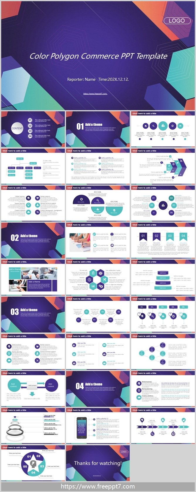 Colored Polygon PPT Templates