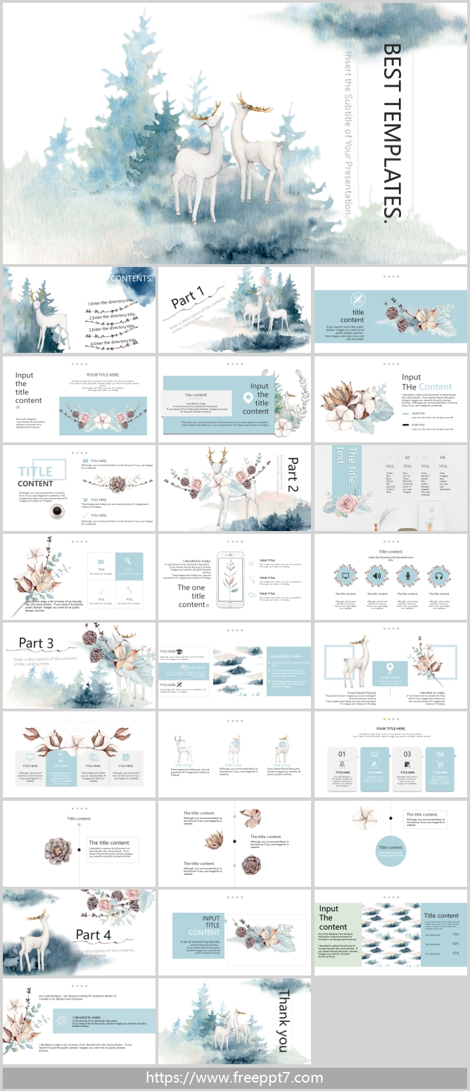 Watercolor deer and forest ppt template