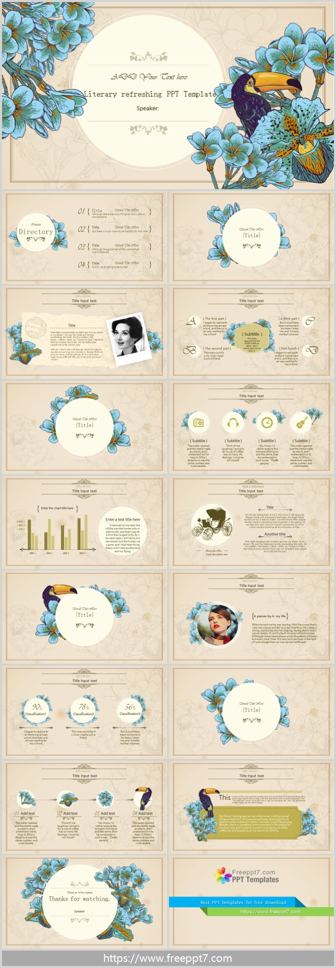 Classic flower and bird decoration PowerPoint templates
