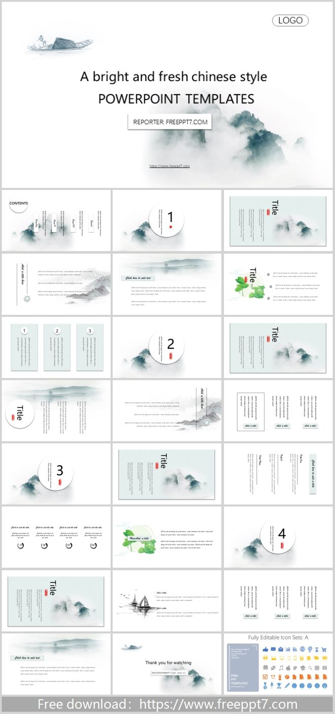 Elegant ink Chinese PowerPoint templates