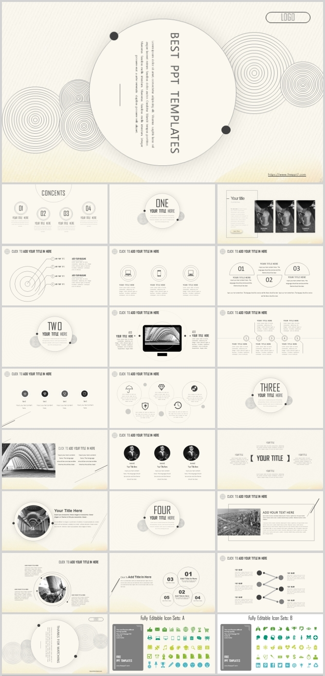 Simple line PowerPoint templates