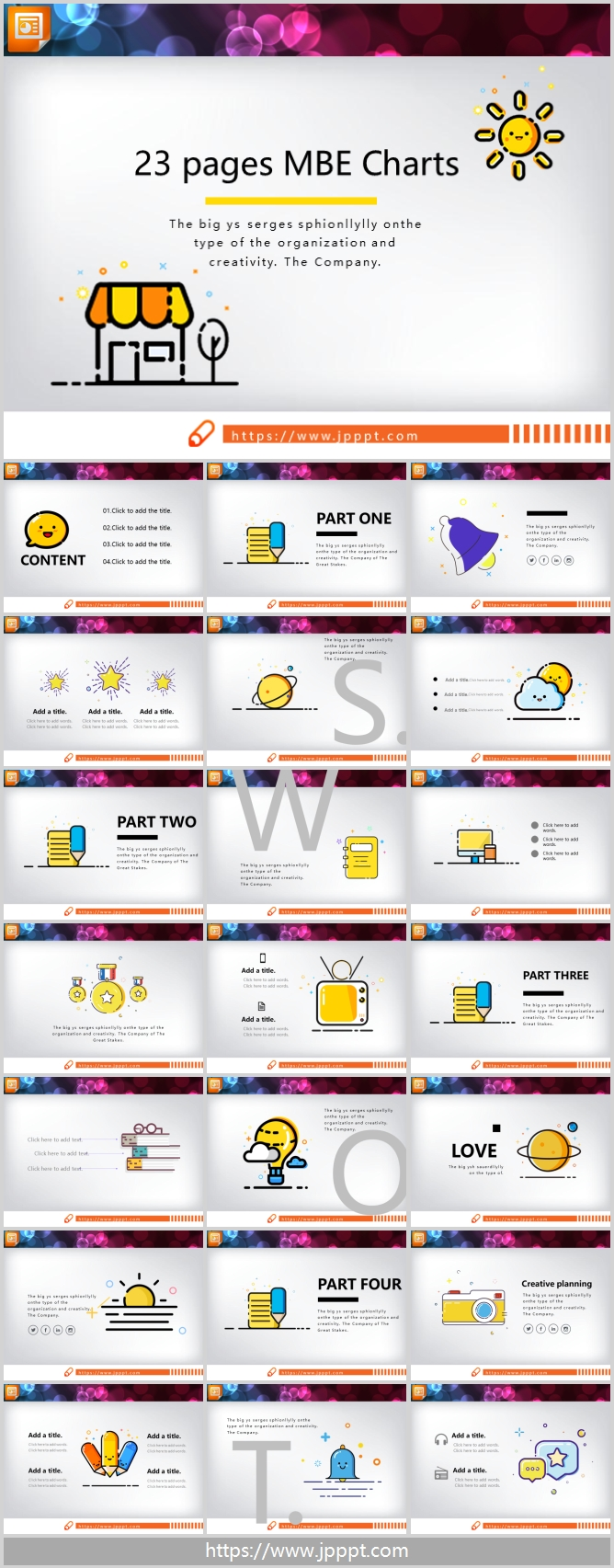 23 cute MBE style PowerPoint charts