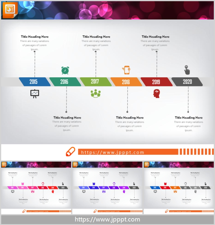 Color six data item PPT timeline