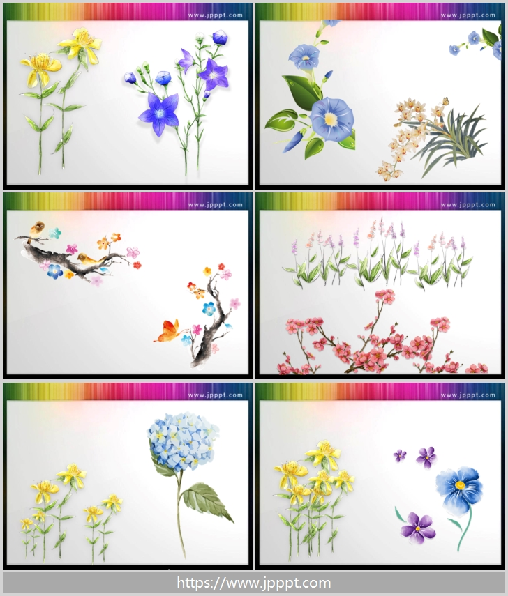 Beautiful watercolor flowers PPT illustrations