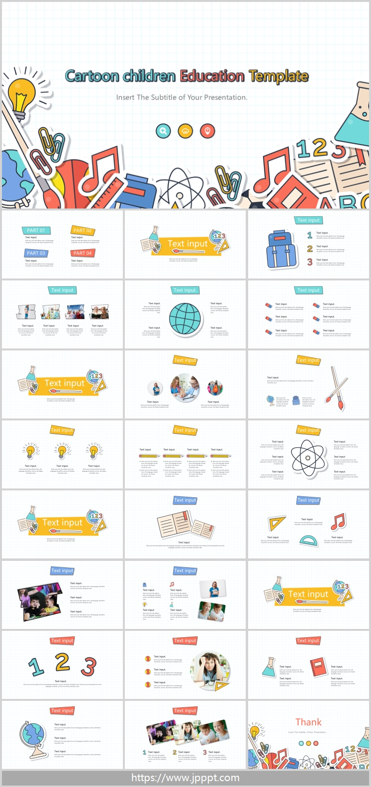 Cartoon style education PowerPoint Templates