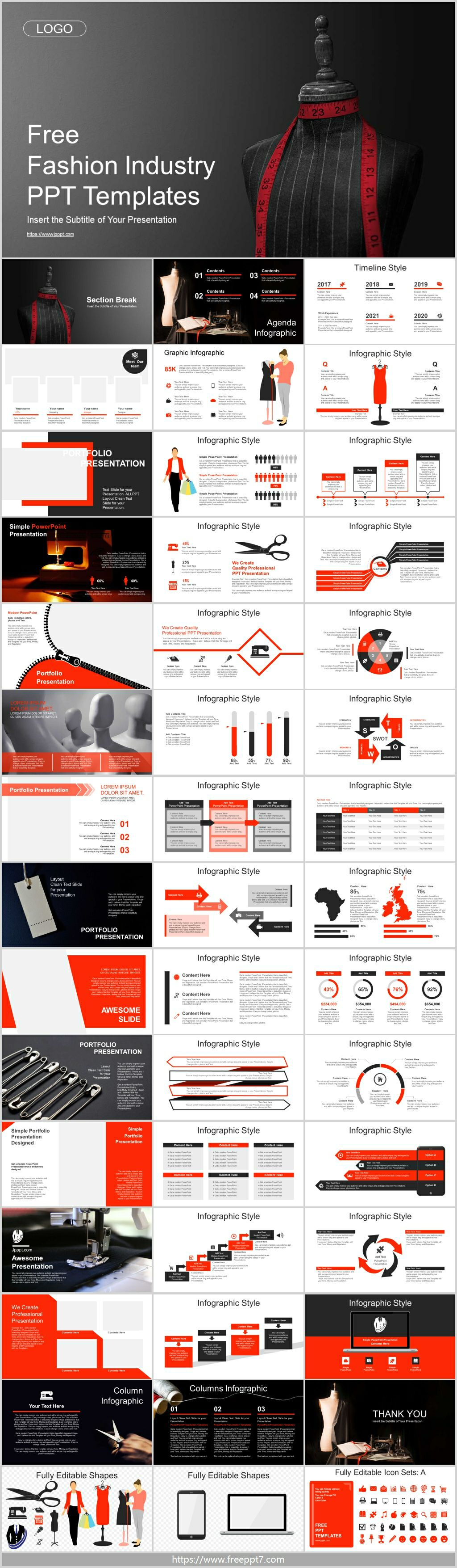 Red tape measure business PowerPoint Template